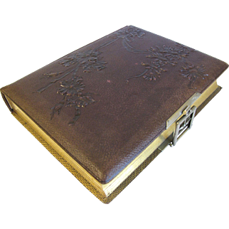 Lovely Victorian Leather Photo Album, 8 Die-cut Floral Pages