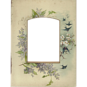 Lovely Chromolithograph Page from Victorian Photo Album, Birds and Flowers
