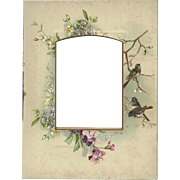 Lovely Chromolithograph Page from Victorian Photo Album, Flowers and Birds