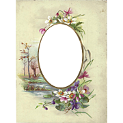 Decorated Page from Victorian Photograph Album, Cabinet Photo, Violets and Primrose