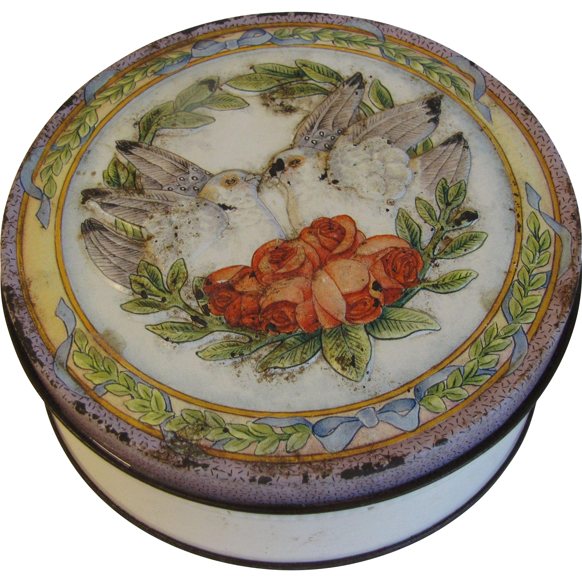 Vintage Round Decorative Tin, Love Birds and Roses