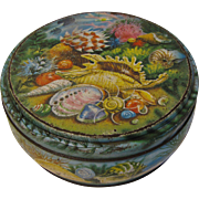 Vintage Round British Biscuit Tin, Aquamarine Drum, Peek, Frean & Co.