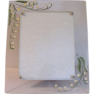 Most Unusual Vintage Glass Photograph Frame, Painted, Lily of the Valley