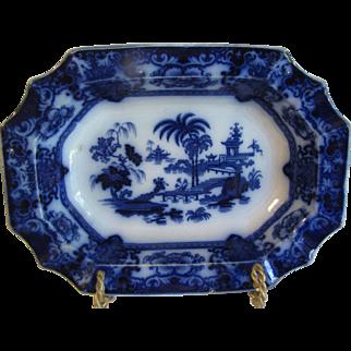 Flow Blue Vegetable Bowl, SHAPOO, Thomas Hughes & Sons, England CA 1910-1930