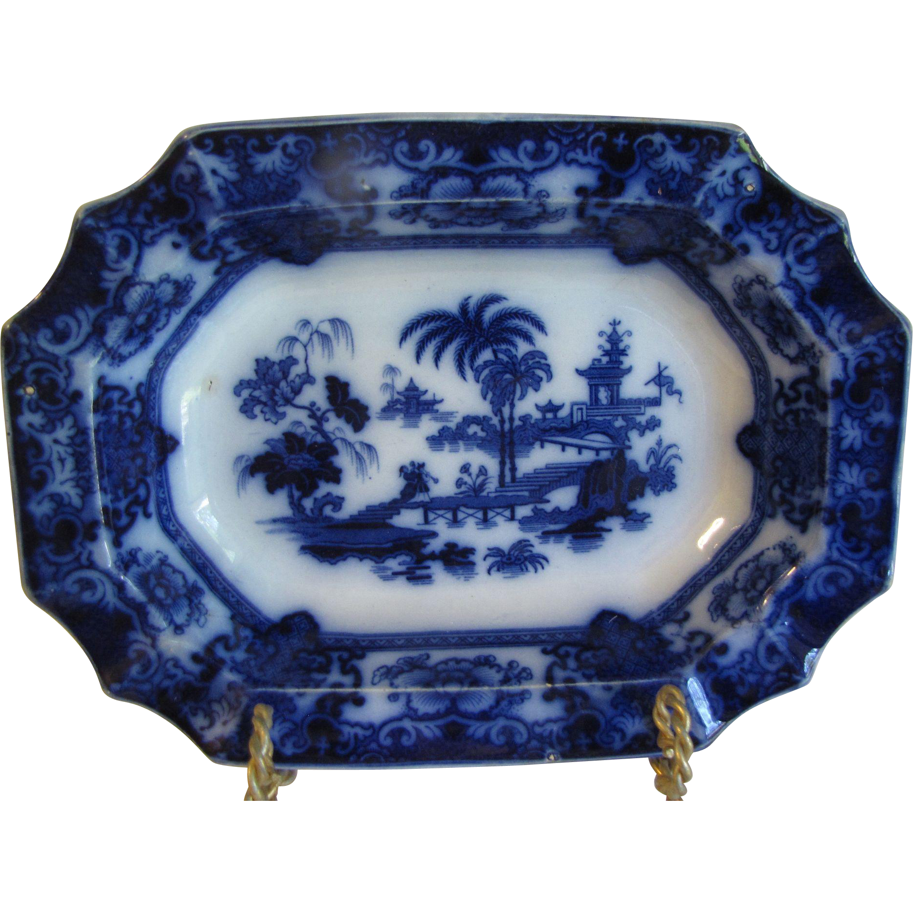 Flow Blue Vegetable Bowl, SHAPOO, Thomas Hughes & Sons, England CA 1910-1930