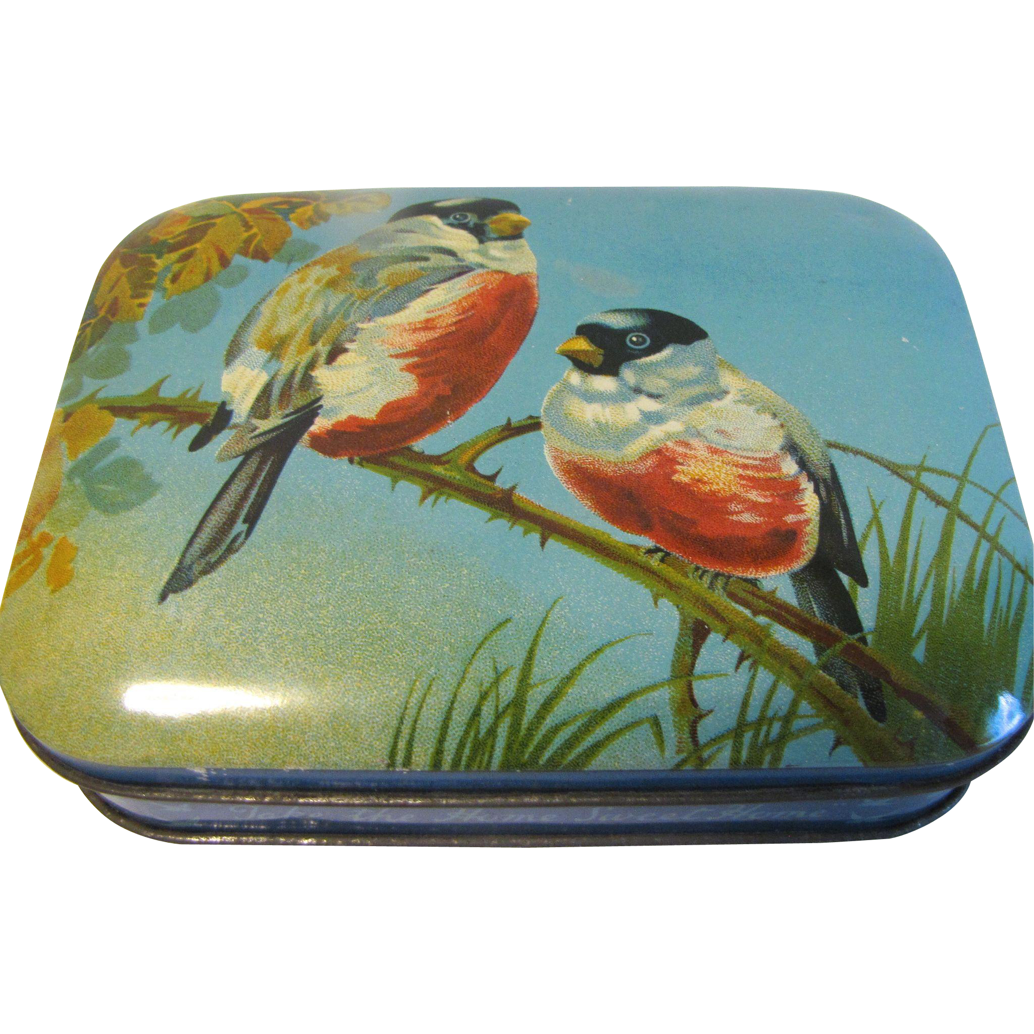 "Lovely Vintage Bluebird Toffee Tin, ""Take the Home Sweet Home"""