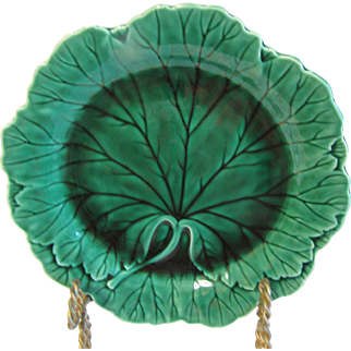 Lovely Early 20th Century Green Majolica Plate, Wedgwood