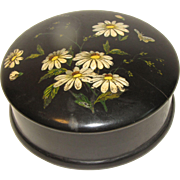 Small Vintage Black Papier Mache Trinket Box, Daisies