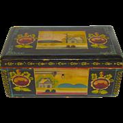 Vintage Folk Art Painted Trinket Box