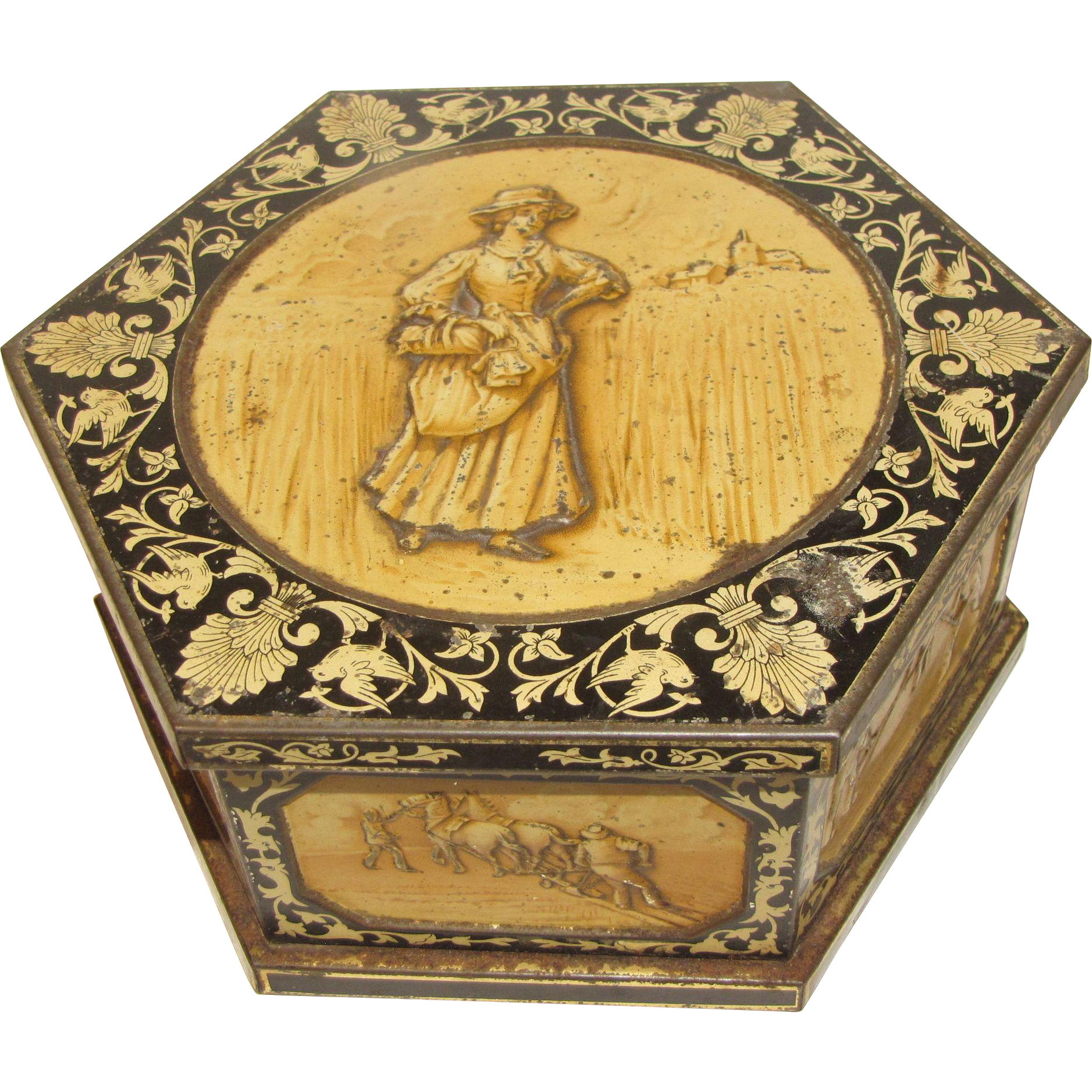Circa 1908 British Biscuit Tin, HARVEST, Huntley & Palmers