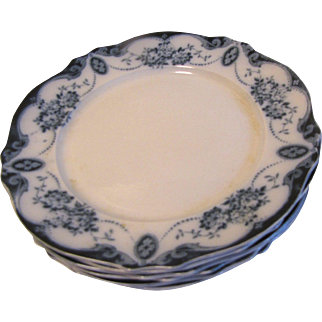 """Group of 6 Flow Blue Dinner Plates (10 1/2""""). LORAINE, Albion Pottery 1912+"""