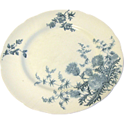 Lovely Blue Transfer Printed Plate THISTLE Royal Doulton c. 1902-1922