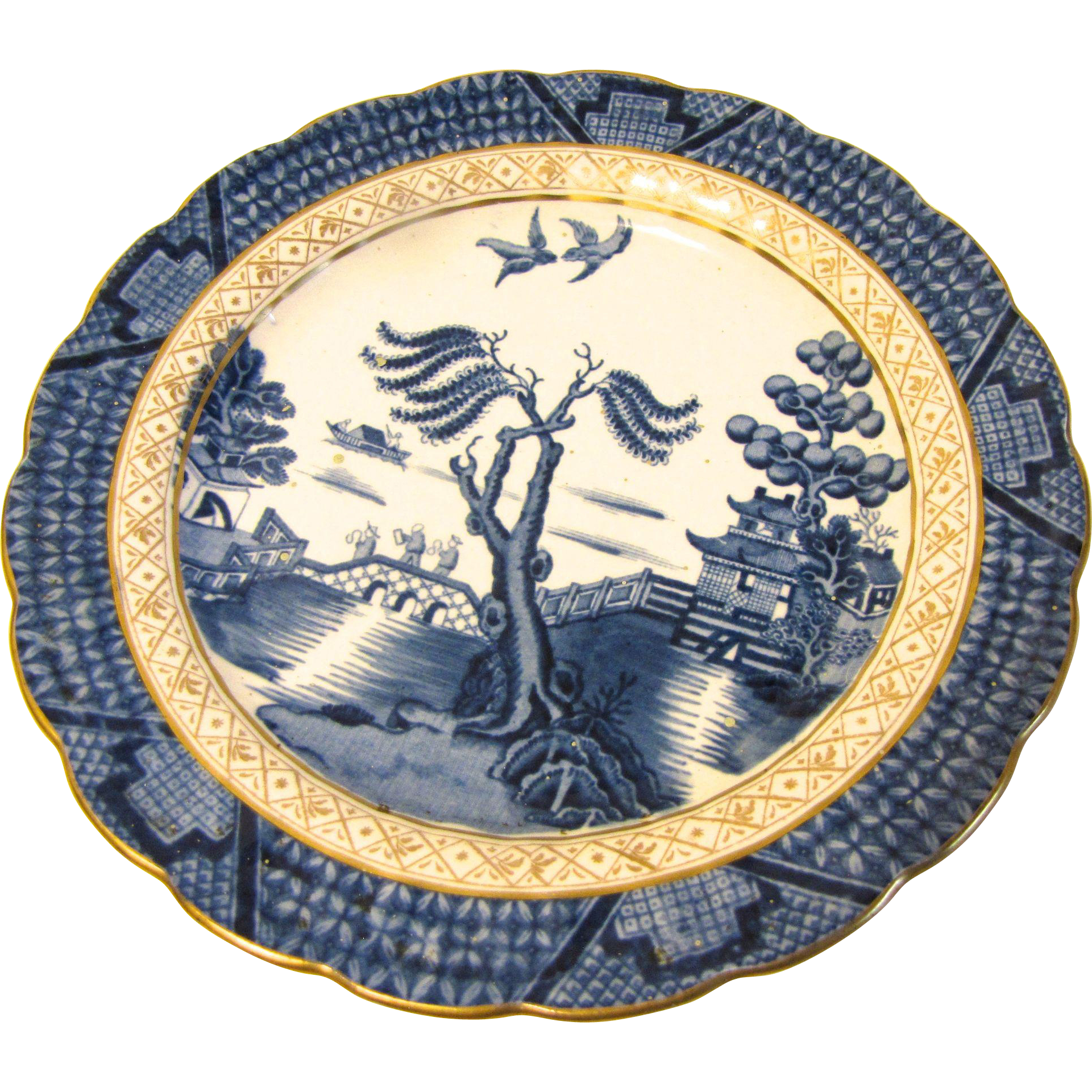 Vintage Blue Willow Plate, Booth's REAL OLD WILLOW,