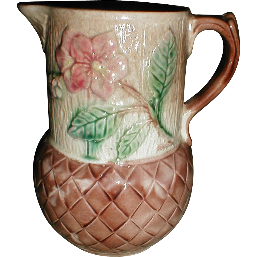 Lovely Antique Majolica Pitcher, Floral and Basketweave