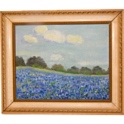 Vintage Small Texas Bluebonnet Painting, Framed