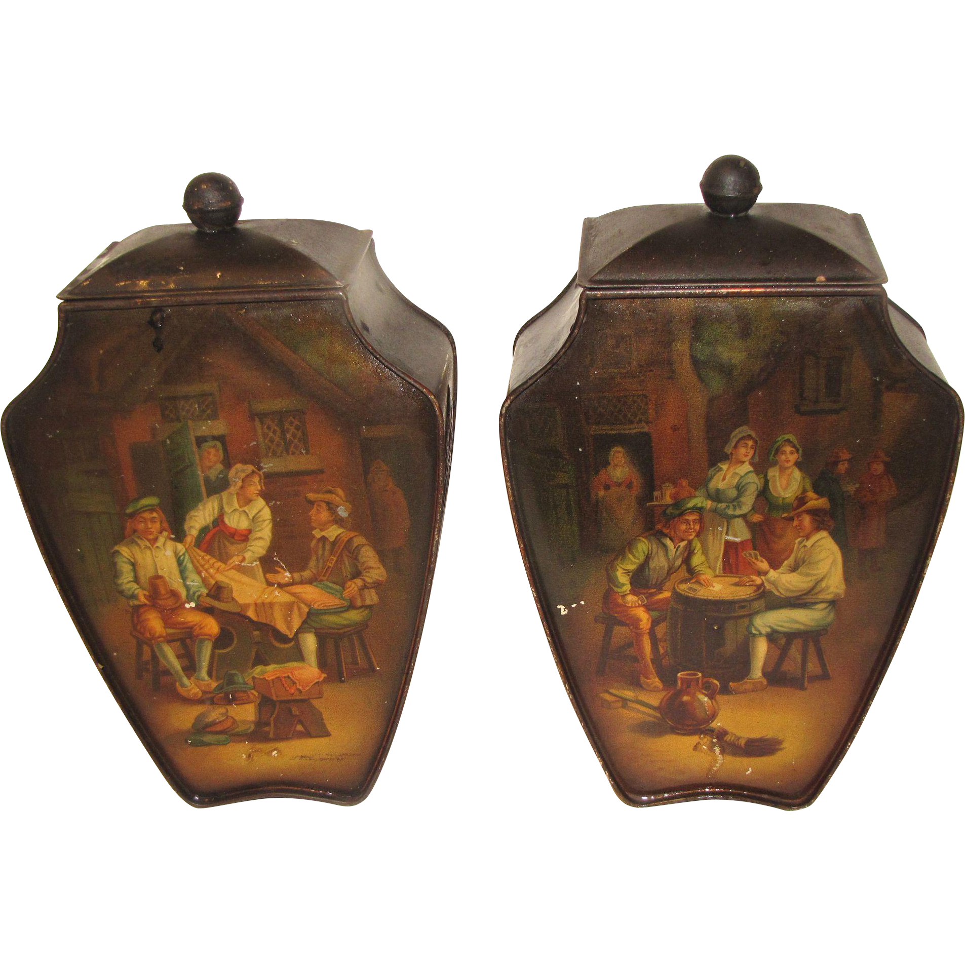 CA 1909-12 British Biscuit Tin, FLEMISH VASE, Huntley & Palmers