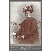 Antique Cabinet Photograph Card, Older Lady in Wonderful Hat