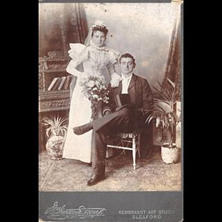 Lovely Antique Cabinet Photograph, Wedding Portrait, Bride & Groom