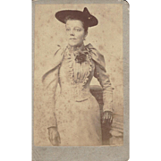 Antique Carte-de-Visite (CDV) Photograph, Lady in Victorian Dress, Hat, & Gloves