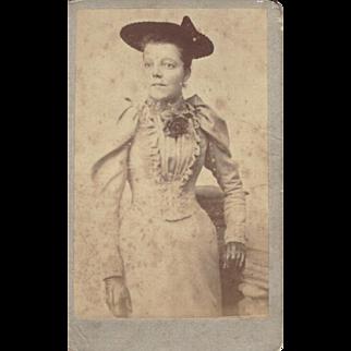 Antique Carte-de-Visite (CDV) Photograph, Lady in Victorian Dress, Hat, & Gloves