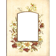 Floral Page from Victorian Photo Album, White Flowers w/brown Ivy Leaves