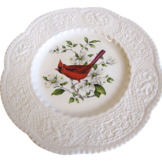 Lovely Royal Cauldon Bird Plate, CARDINAL