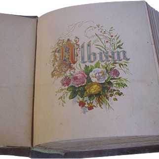 Victorian Photograph Album, Leather Cover, Floral Page Mounts, Small