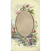 Lovely Page from Victorian Photo Album, Pink Primroses & Violets