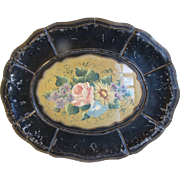 Most Unusual Tole Tray, Metal Frame w/Glass Insert Covering Floral Painting