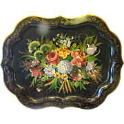 Huge Vintage Tole Tray, Floral, Chippendale Border