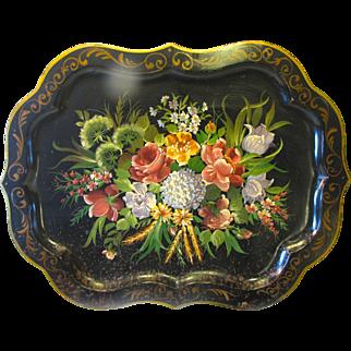 Huge Vintage Tole Tray, Floral, Chippendale Border