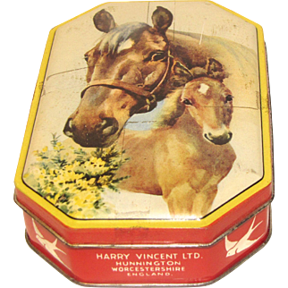 Vintage Blue Bird Toffee Tin, Mare and Colt