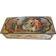 Antique Biscuit Tin, TAPESTRY Glove Box BMW 1910