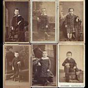 Group of Six Carte-de-Visite (CDV) Photo Cards of Young Boys