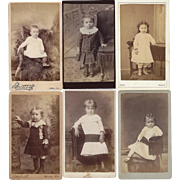 Group of 6 Carte-de-Visite Photographs, Young Children