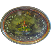 Very Unusual Vintage Tole Tray, Landscape