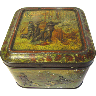 "1899 British Biscuit Tin ""With Dog & Gun""  Huntley Palmers"