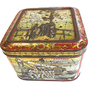 Awesome Circa 1900 Huntley & Palmers Biscuit Tin, NAVY