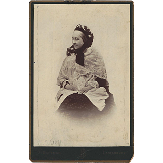 Cabinet Photograph, Old Woman, Lace Shawl and Floral Bonnet