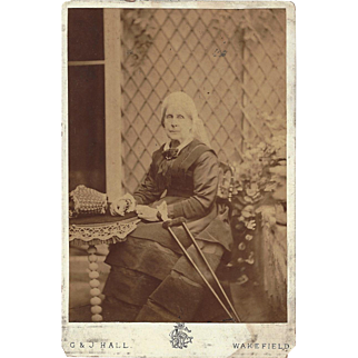 Victorian Cabinet Photograph of an Old Woman with a Crutch