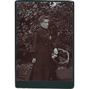 Victorian Cabinet Photograph Woman in The Garden with Basket of Flowers