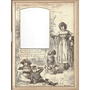 "Page from Victorian Photo Album, Sepia MonoChrome Illustration, ""Tis Only the Children Playing"""