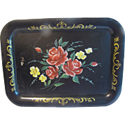Vintage Rectangular Tole Tray, Red Roses