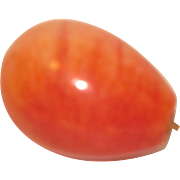 Vintage Polished Mexican Alabaster Fruit Piece, Red Pear
