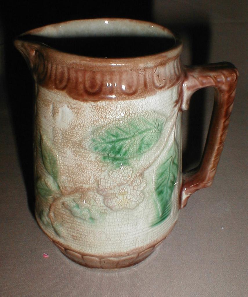 Antique Majolica Pitcher, Basketweave & Floral