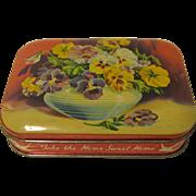 Vintage Blue Bird Toffee Tin, PANSIES
