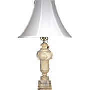 Large Vintage Carved Alabaster Table Lamp, Rewired