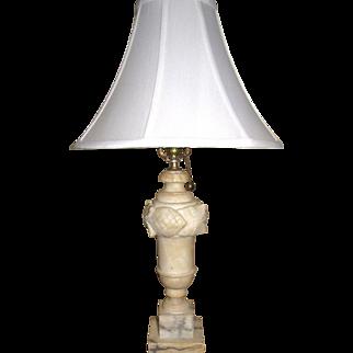 Large Vintage Carved Alabaster Table Lamp, Rewired