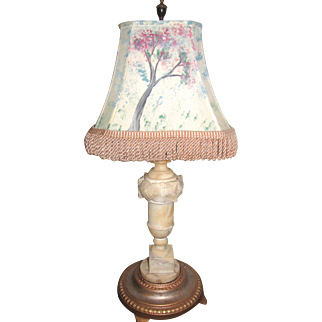 Large Alabaster Table Lamp, Carved, Rewired