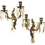 Pair of Decorative Candle Wall Sconces, Italian Tole, Prisms